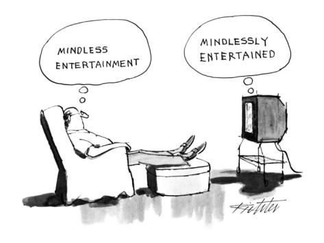 mischa-richter-a-man-sits-in-an-armchair-watching-tv-thinking-mindless-entertainment-new-yorker-cartoon