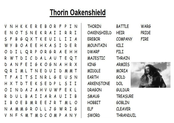 Thorin wordsearch